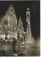 Ansichtskarte Rothenburg ob der Tauber - Herrngasse bei Nacht - schwarz/weiß