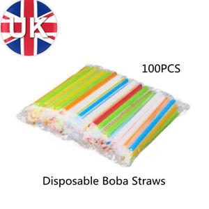 100X Extra Wide Boba Bubble Tea Fat Drinking Smoothie Milkshake Straws Assorted