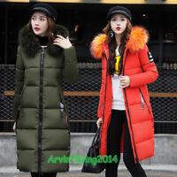 2018 Women's warm winter Jacket long Down Cotton Parka Fur Collar Hooded coat