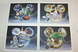 Walt Disney World 4 Park Collector Lithograph Set Mickey Mouse Presents with COA
