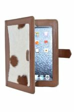 iPAD 2, 3 & 4 TAN CASE AND STAND REAL LEATHER WITH COW SKIN FUR LUXURY COVER