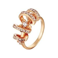18K Rose Gold Plated  with Zircon Rhinestone Ring Jewelry *UK Seller