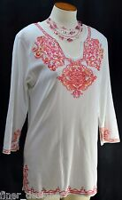 Coldwater Creek knit stretch tunic chic blouse top shirt boho India 3/4 Slv XS