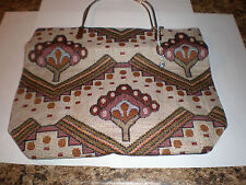 Burgundys,greens and browns tree tapestry fabric purse-metal handles w/key chain