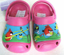 NEW BABY GIRLS PINK CLOGS GARDEN FLIP FLOPS SANDALS ANGRY BIRDS MULES HOME SHOES