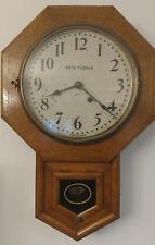 Seth Thomas Oak School house Octagon 8 day Wall Clock Antique Works Great!