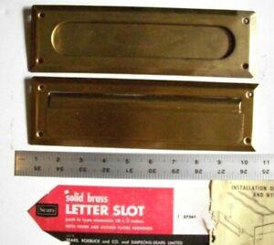 "Vintage Sears Solid Brass Door Mail Slot Complete Set  - 10"""