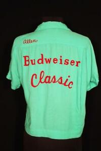 "VERY RARE VINTAGE ""BUDWEISER CLASSIC"" 1950'S RAYON GAB BOWLING BLOUSE SIZE LARGE"
