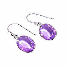 925 Sterling Silver Handmade Purple Amethyst Gemstone Dangle Earrings NLG-791