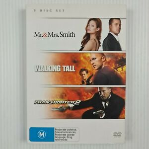 Mr & Mrs Smith / Walking Tall / Transporter 2 DVD - Region 4 - TRACKED POST