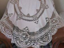 """Vintage /Antique 65"""" Diameter Round Torchon Cluny Lace & Fine Linen Tablecloth"""