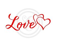 Love with Two Hearts Wall Art Vinyl Sticker Decal Red (#226)