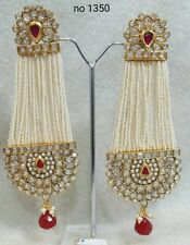 Indian Pearl Gold Plated Meena Kundan Minakari Earrings Polki Wedding Jewelry1