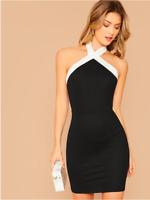 Black Contrast Trim Backless Bodycon Halter Cocktail Party Dress Sz XS S M L XL