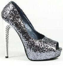 Gray Glitter High Metallic Stiletto Heel Open Toe Platform Pump 9 us Red Kiss