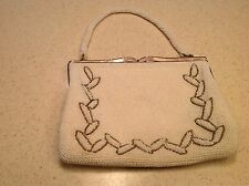 Vintage Japan Faux Pearl Beaded Purse Evening Bag Clutch W/Mother Of Pearl Clasp