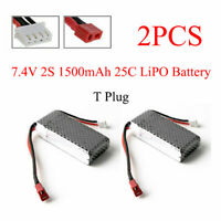 2PCS RC Boat Lipo Battery 2s 7.4V 1500mAh 25C For Wltoys 12428 12423 T Plug