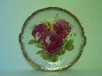 Antique Pink Rose Porcelain Cake Plate Gold Trim