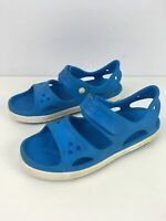 CHILDS CROCS UK 3 US 3 J BRIGHT BLUE STRAPPY BEACH GARDEN HOLIDAY SANDALS SHOES
