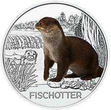 Österreich 3 Euro 2019 Tiertaler Fischotter handgehoben in Münzkapsel