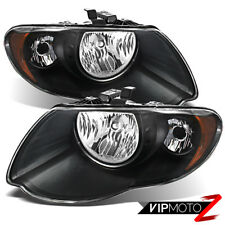 2005 2006 2007 Chrysler Town Country Black [DIRECT REPLACEMENT] Pair Headlights