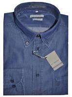 CAMICIA UOMO Jeans taglia M L XL XXL XXXL 100% cotone tela leggera blu scuro