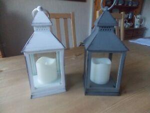 Grey Shabby Chic Lantern LED Candle, Wedding, Homewear, Decor, Metal Effect 22cm