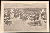 Savannah Georgia Birds Eye View Coast Showing Fleet 1862 Civil War naval print