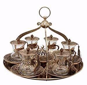 20 Piece Traditional Turkish Style Tea Serving Set Istikana w/ Crown Shaped Tray
