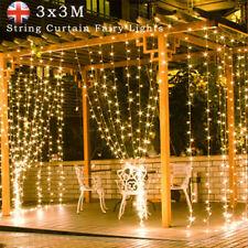 3x3M 300 LED Light Curtain String Fairy Lights Gazebo Patio Garden Xmas Wedding