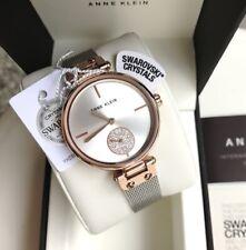 Anne Klein Watch * 3001SVRT Swarovski 2 Tone Rose Gold & Silver Mesh Women