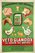 Veto-Glandox Animaux Vitamines Original Vintage French Advertising Poster