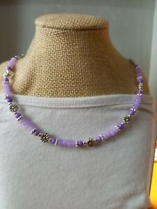 Purple & silver seed bead necklace with daisy flowers ~ hippy love beads