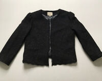 Ann Taylor LOFT Sz 10 M Black Tweed Blazer Jacket Silk Wool Lined Lace Trim