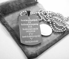 10 COMMANDMENTS SOLID THICK  STAINLESS STEEL BALL CHAIN SHINE  PRAYER