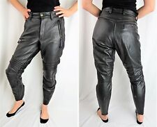 Womens VANSON Black Leather Motorcycle Riding Pant Sport Rider Technical Size 10