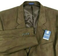Stafford Essentials NEW Microsuede Blazer Size 48 Regular Brown Classic Fit