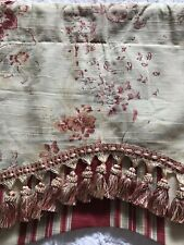 Waverly French Country Floral Valance With Tassels Cream Red Stripes 72x18