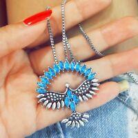 Frauen lange blaue weiße Kristall Strass Eagle Phoenix Anhänger Halskette DE