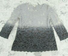 Anthropologie Meadow Rue Gray Ombre Lace Scalloped Tunic Top Blouse X Small XS