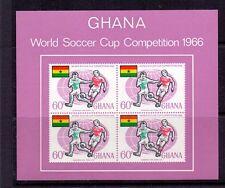 Ghana 1966 Fútbol-Fotball SG MS 434 Mini hoja estampillada sin montar o nunca montada Cat £ 24.