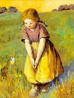 PAINTING DAS MADCHEN UND DER SCHMETTERLING GIRL BUTTERFLY ART POSTER CC3406