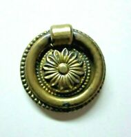 "Solid Cast Brass 1850s Floral Drop Ring Pull Handle Flower 1-1/4"" Round Antique"