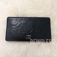 Authentic Chanel Luxury Designer Camellia Lambskin Quilted Leather Wallet