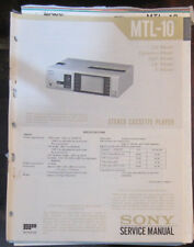 Sony MTL-10 service manual and troubleshooting guide (original copies)