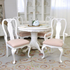 Shabby Cottage Chic Set Of Four Dining Chairs French Vintage Style White Roses