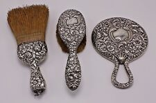 3 Piece Lot Set Antique Vtg Ornate Repousse Vanity Sterling Silver Brush Mirror