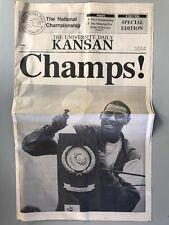 1988 NCAA Basketball Champs University of Kansas KU Daily Kansan Newspaper B Ed