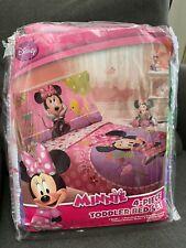 Disney Minnie Mouse 4 Piece Toddler Bedding Set Pink Quilt Pillowcase Sheet New