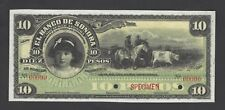 Mexico 10 Pesos 1898 PS420s Specimen About Uncirculated